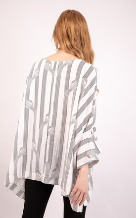 Oversized Stripe Print Floaty Asymmetric top in White by Urban Mist