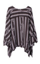 Oversized Stripe Print Floaty Asymmetric top in Black by Urban Mist