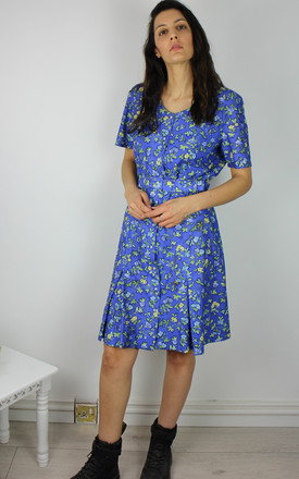 Vintage Tea Dress With Matching Belt In Blue Floral Print by Re:dream Vintage Product photo
