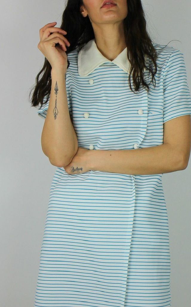Vintage Shift T-shirt Dress with Collar & Button Detail in Blue Stripe by Re:dream Vintage