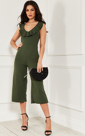 Khaki Culotte Frill Jumpsuit by Bella and Blue