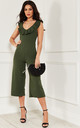 Khaki Culotte Frill Jumpsuit by Lilah Rose