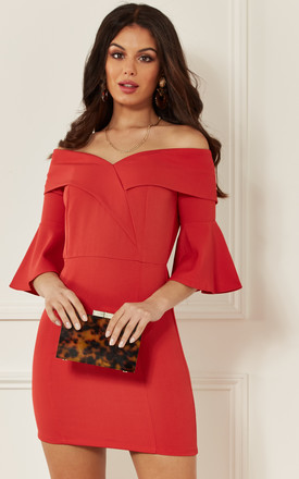 Red Off The Shoulder Fitted Dress With Flared Sleeve by Luna Product photo