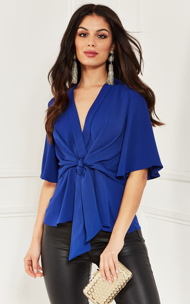 Cobalt Blue Kimono Knot Top by Bella and Blue Product photo