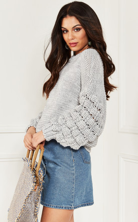 Light Grey Cable Knit Jumper by Bella and Blue Product photo