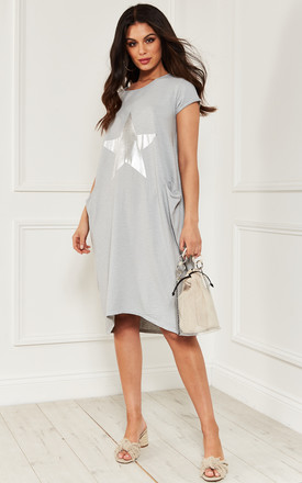 Light Grey Star T Shirt Dress by Bella and Blue Product photo