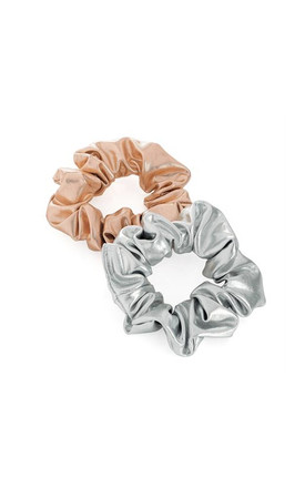Metallic Mini Scrunchie Set in silver and rose gold by LULU IN THE SKY