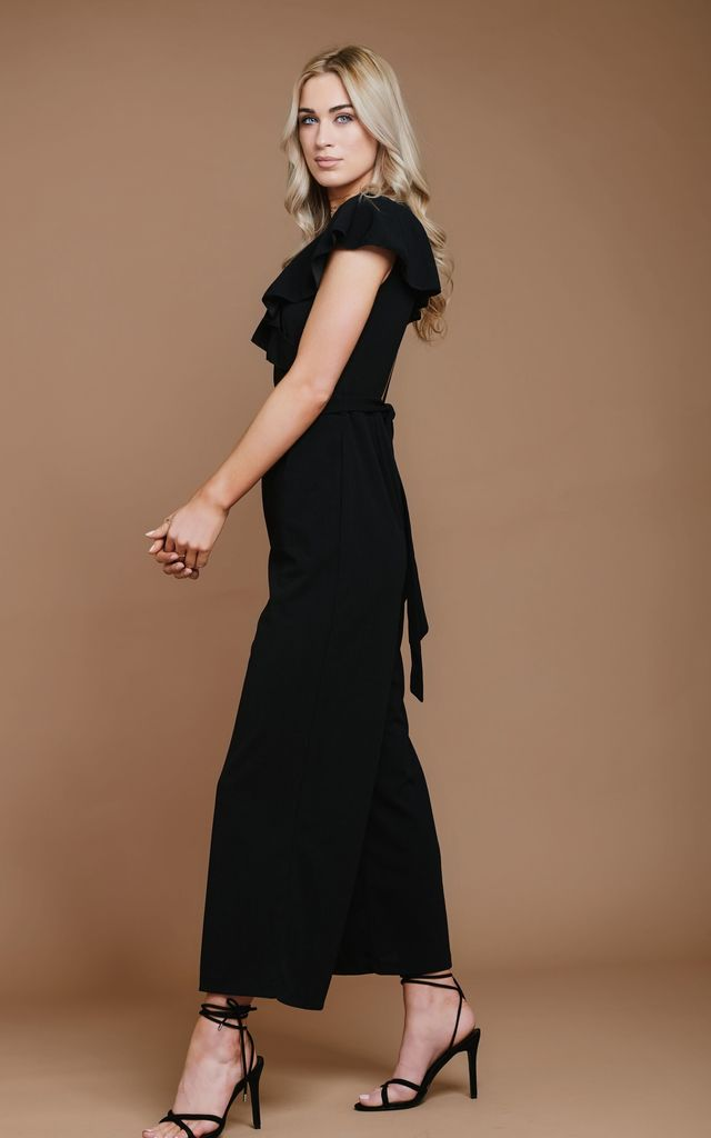 Black Backless Jumpsuit with Pockets by HAUS OF DECK
