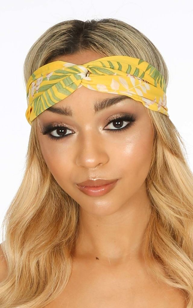 Yellow Tropical Print Fabric Head Band by Dressed In Lucy