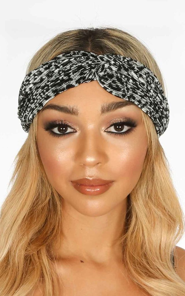 Crinkle Headband in Grey Leopard Print by Dressed In Lucy