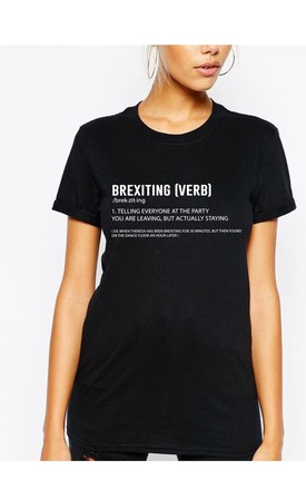 BREXITING Slogan T-Shirt in Black by Adolescent Clothing