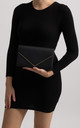 Mila Black Faux Leather Envelope Bag by KoKo Couture