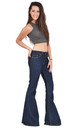Indigo Mid Rise Wide Flared Jeans by Glamour Outfitters