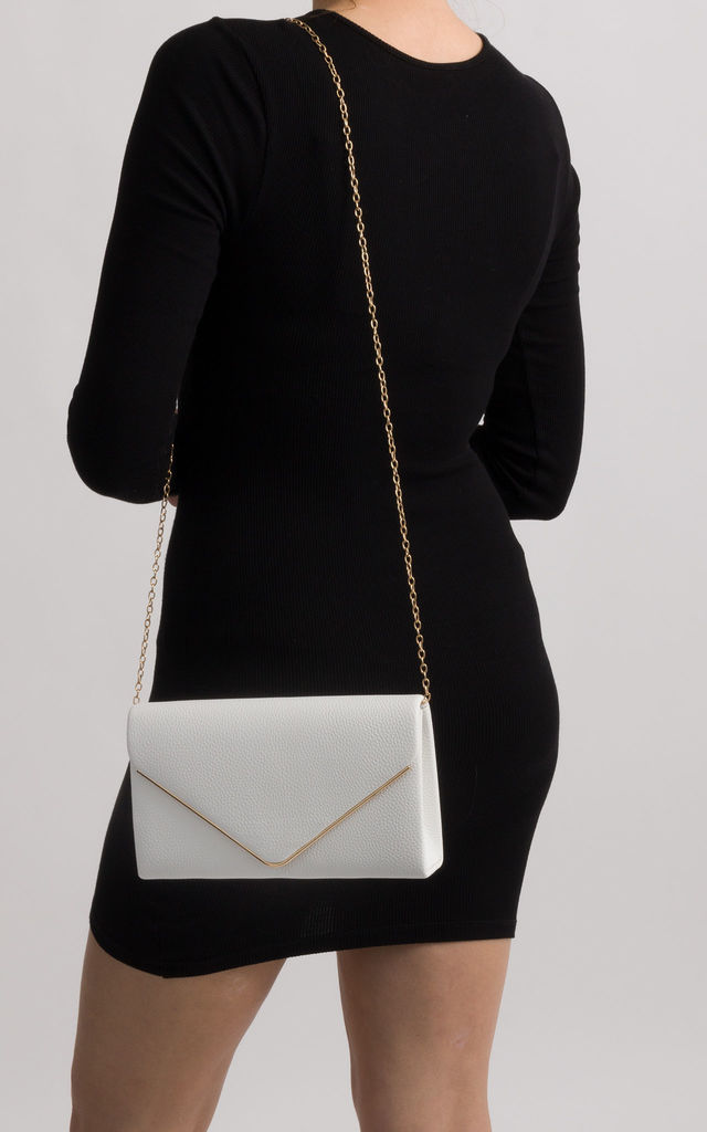 Mila White Faux Leather Envelope Bag by KoKo Couture