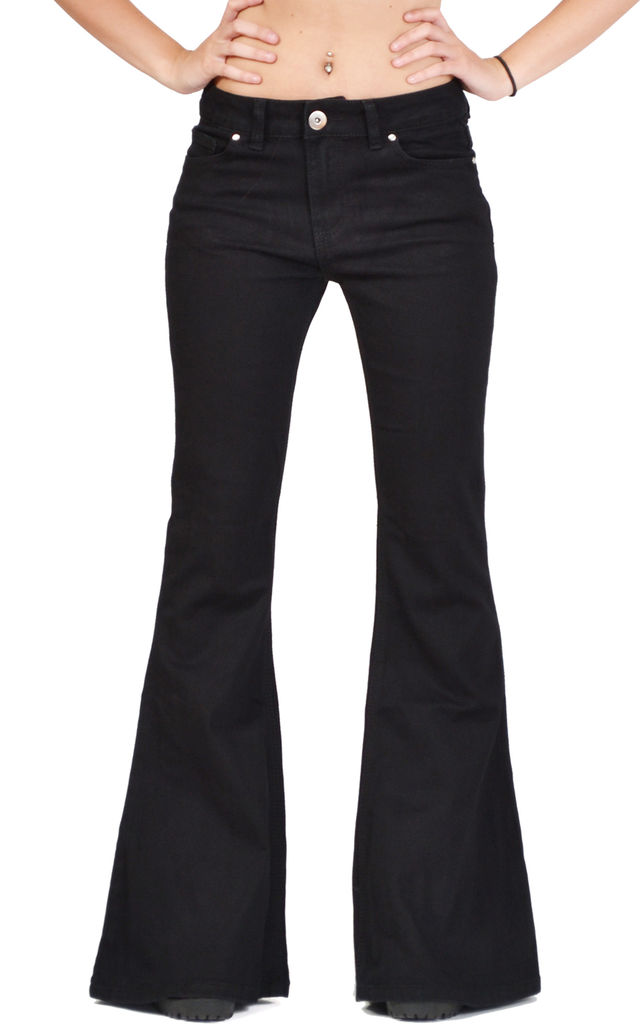 Black Mid Rise Wide Flared Jeans by Glamour Outfitters
