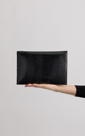 Millie Black Faux Snakeskin Foldover Clutch by KoKo Couture