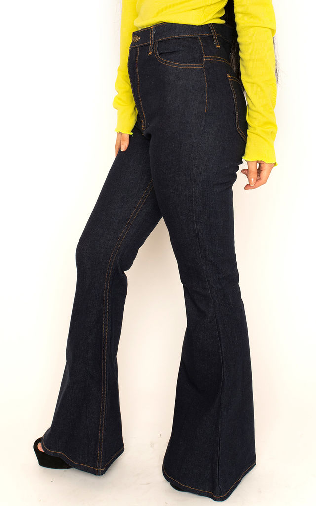 Indigo High Waist Wide Flared Jeans by Glamour Outfitters