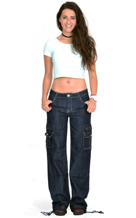 Indigo Wide Leg Cargo Jeans by Glamour Outfitters