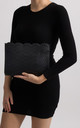 Erika Black Faux Leather Laser Cut Zipper Clutch by KoKo Couture