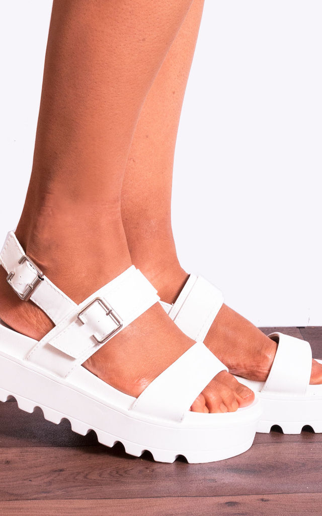 White Sling back Cleated Platforms with Chunky Buckle in White by Shoe Closet