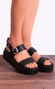 Black Slip On Cleated Platforms with Gold Chunky Buckle in Black by Shoe Closet