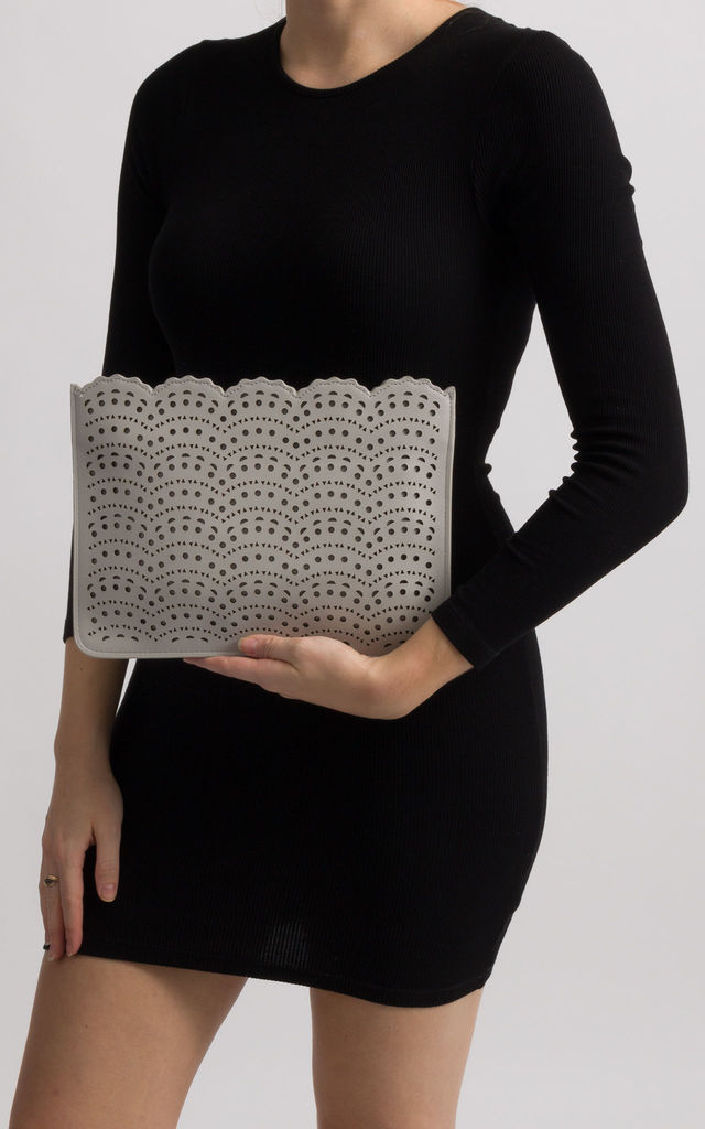 Erika Grey Faux Leather Laser Cut Zipper Clutch by KoKo Couture