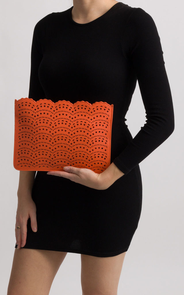 Erika Orange Faux Leather Laser Cut Zipper Clutch by KoKo Couture