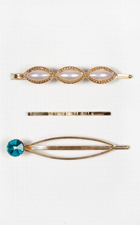 Bella Oval Pearl & Jewel Hair Slide Set by Dressed In Lucy