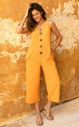 Sleeveless Cropped Jumpsuit With Relaxed Fit In Yellow by likemary Product photo