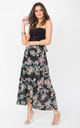 Maxi Wrap Skirt Roses Floral Print Black by likemary