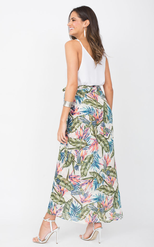 Maxi Wrap Skirt Tropical Floral Print White by likemary