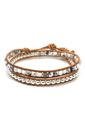 Galop 2 Leather Wrap Bracelet in White and Tan by Boho Betty