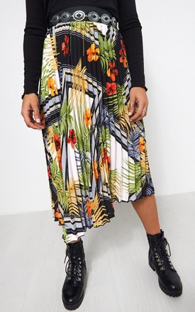BLACK TROPICAL PRINT AZTEC PLEATED MIDI SKIRT by The Fashion Bible