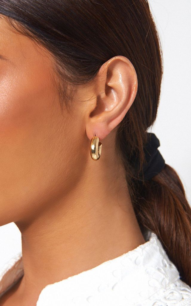 SMALL CHUNKY GOLD HOOP EARRINGS by The Fashion Bible