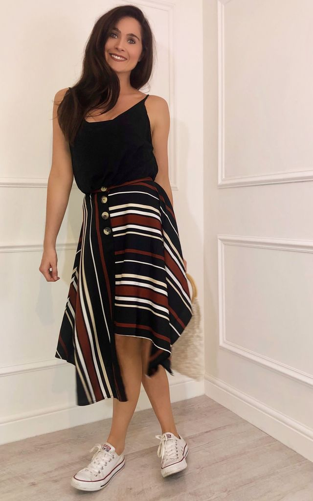 Cassie Button DownMidi Skirt with Asymmetric Hem in Multi Stripe by LB LONDON