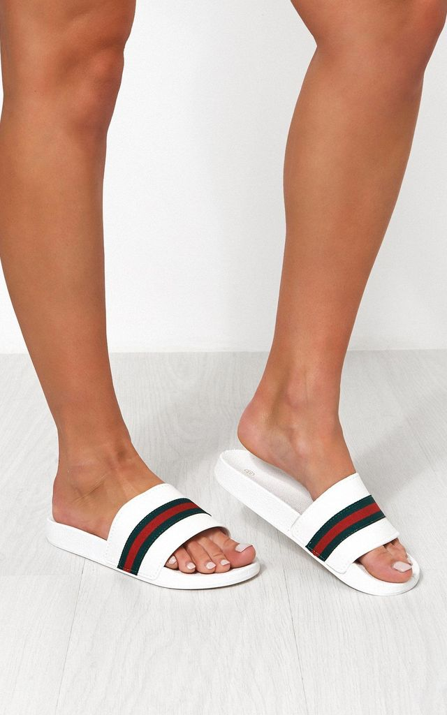 White sliders with Green red stripe by The Fashion Bible