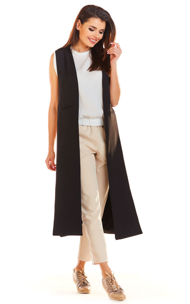 Maxi Loose Vest in Black by AWAMA
