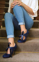 Bianca Vintage Inspired Bootie in Navy Ultra Suede & Lace by Perfect Shoes