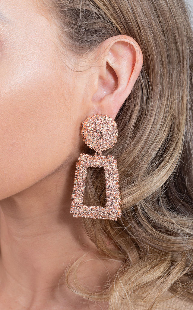 Rose Gold  Fashion Large Chunky Metal Geometric Drop Earrings by Saint Genies