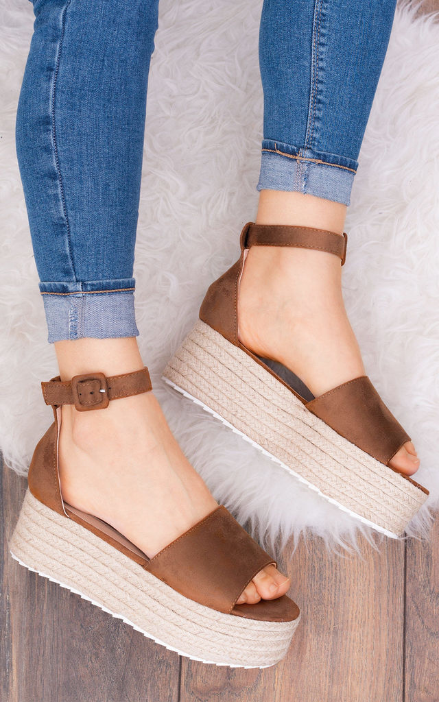 MONZA Platform Espadrille Sandals Shoes - Tan Suede Style by SpyLoveBuy
