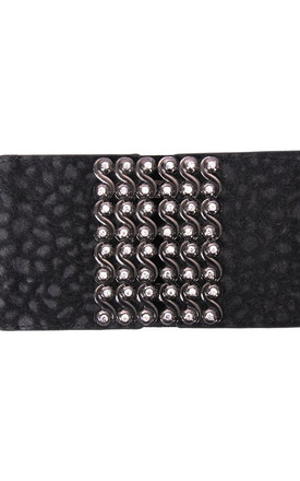Diamante on Suede Feel Faux Leather Wide waist Belt by Urban Mist