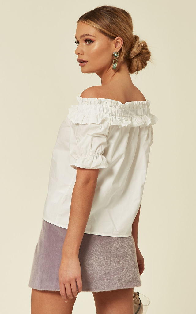 Off White Bardot Ruffled Blouse by ANGELEYE