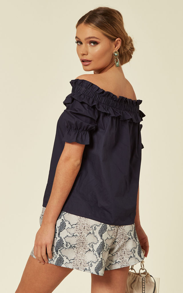 Blue Bardot Ruffled Top by ANGELEYE