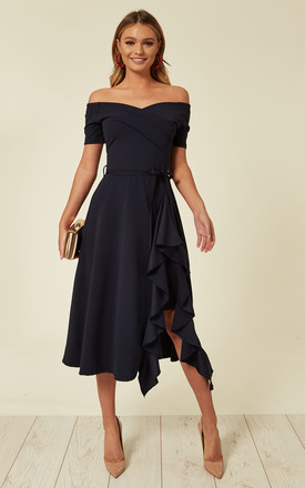 Exclusive Bardot Off Shoulder Frill Midi Dress Navy by Feverfish Product photo