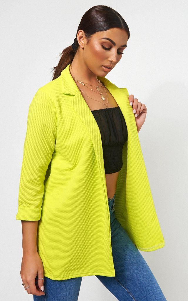 Long Waffle Boyfriend Blazer In Lime by The Fashion Bible
