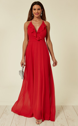 Red Cami Ruffled Maxi Dress by ANGELEYE