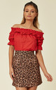 Red Bardot Ruffled Blouse by ANGELEYE
