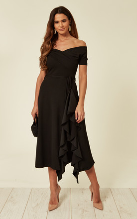 Exclusive Bardot Off Shoulder Frill Midi Dress Black by Feverfish Product photo