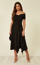 Exclusive Bardot Off Shoulder Frill Midi Dress Black by Feverfish