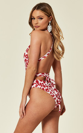HVAR BUCKLE MULTIWAY SWIMSUIT RED LEOPARD by Celeb Threads